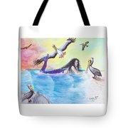 Mermaid Pelicans Surf Beach Cathy Peek Art Tote Bag