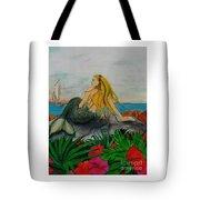 Mermaid Sailboat Flowers Cathy Peek Fantasy Art Tote Bag