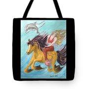 Mermaid Sea Horse Dolphin Fantasy Cathy Peek Tote Bag