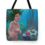 Mermaid Underwater City Tote Bag