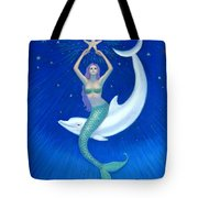 Mermaids- Dolphin Moon Mermaid Tote Bag