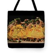 Merrie Monarch Hula Dancers In Yellow Dresses Tote Bag
