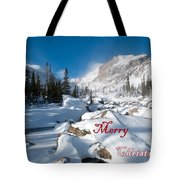 Merry Christmas Snowy Mountain Scene Tote Bag