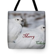 Merry Christmas - Winter Ptarmigan Tote Bag