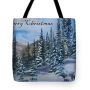 Merry Christmas - Winter Trees And Mountains Tote Bag