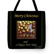 Merry Christmas And A Happy New Year - Little Gold Pears And Leaf - Holiday And Christmas Card Tote Bag