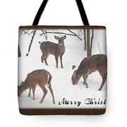 Merry Christmas Card - Whitetail Deer In Snow Tote Bag