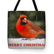 Merry Christmas Cardinal Tote Bag