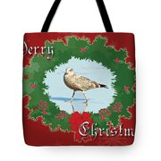 Merry Christmas Greeting Card - Young Seagull Tote Bag