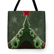 Merry Christmas Greeting - Tree And Star Fractal Tote Bag
