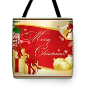Merry Christmas Greeting With Gifts Bows And Ornaments Tote Bag