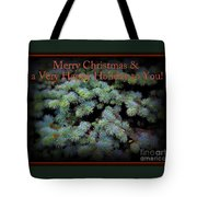 Merry Christmas And Happy Holiday - Blue Pine Holiday And Christmas Card Tote Bag