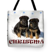 Merry Christmas Puppies Tote Bag