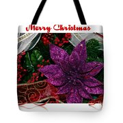 Merry Christmas Red Ribbon Tote Bag