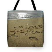 Merry Christmas Sand Art Footprint 4 12/25 Tote Bag