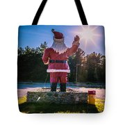 Merry Christmas Santa Claus Greeting Card Tote Bag