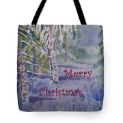 Merry Christmas - Snowy Winter Path Tote Bag