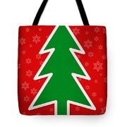 Merry Christmas Tree With Snowflake Background  Tote Bag