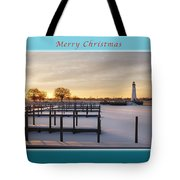 Merry Christmas Winter Marina And Lighthouse Tote Bag