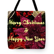 Merry Christmas With Purple Poinsettia Tote Bag