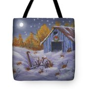 Merry Christmas You Old Barn And Farm Implement Tote Bag