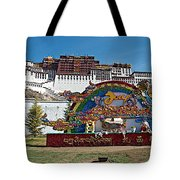 Message Of Joy From Potala Palace In Lhasa-tibet  Tote Bag