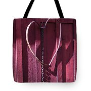 Metal Heart On Red Barn Tote Bag