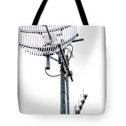 Metal Telecom Tower And Antennas Isolated On White Tote Bag