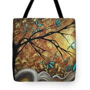 Metallic Gold Textured Original Abstract Landscape Painting Apricot Moon By Madart Tote Bag