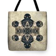 Metatron's Cube Silver Tote Bag by Filippo B