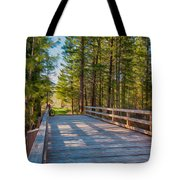 Methow Valley Community Trail At Wolf Creek Bridge Tote Bag by Omaste Witkowski