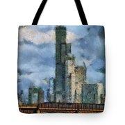 Metra Train View Sears Willis Tower Mixed Media 03 Tote Bag