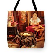 Mexican Girl Making Tortillas Tote Bag