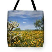 Mexican Golden Poppy Flowers And Cactus Tote Bag