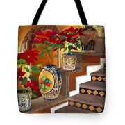Mexican Pottery On Staircase Tote Bag by Judy Swerlick