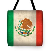 Mexico Flag Vintage Distressed Finish Tote Bag