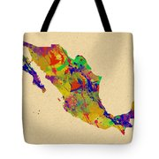Mexico Map Watercolor Tote Bag