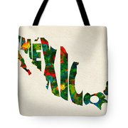 Mexico Typographic Watercolor Map Tote Bag