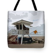 Miami Beach Lifeguard Station II Abstract Tote Bag