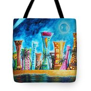 Miami City South Beach Original Painting Tropical Cityscape Art Miami Night Life By Madart Absolut X Tote Bag
