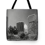 Miami Cityscape  Bw Tote Bag