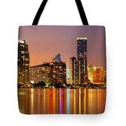 Miami Skyline At Dusk Tote Bag