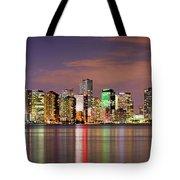 Miami Skyline At Dusk Sunset Panorama Tote Bag