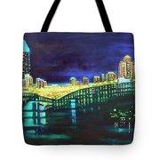 Miami Skyline Of Lights Tote Bag