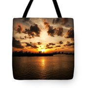 Miami Skyline Sunset Tote Bag