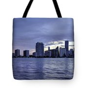 Miami Skyline Waves Tote Bag