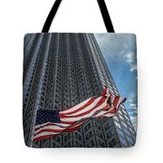 Miami's Financial Center And Old Glory Tote Bag by Rene Triay Photography