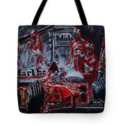 Michael Schumacher Out Of The Darkness Tote Bag