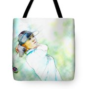 Michelle Wie Hits Her Tee Shot On The Sixth Hole Tote Bag