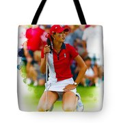 Michelle Wie Of The Usa Solhiem Cup Reacts After Missing A Putt Tote Bag